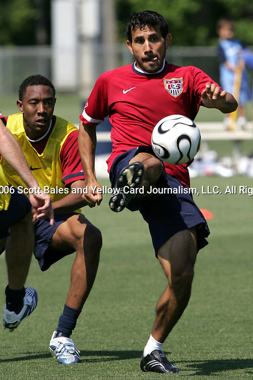 20 May 2006: Pablo Mastroeni (r) and Cory Gibbs (in yellow). The United States' Men's National Team trained at SAS Soccer Park in Cary, NC, in preparation for the 2006 World Cup tournament to be played in Germany from June 9 through July 9, 2006.