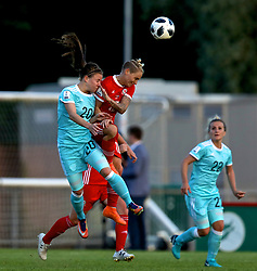 NEWPORT, WALES - Tuesday, June 12, 2018: Wales' Jessica Fishlock and Russia's Margarita Chernomyrdina during the FIFA Women's World Cup 2019 Qualifying Round Group 1 match between Wales and Russia at Newport Stadium. (Pic by David Rawcliffe/Propaganda)