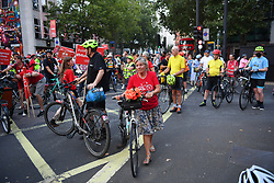 © Licensed to London News Pictures. 08/09/2021. London, UK. Following the death of Dr Marta Krawiec at Holborn, supporters of London Cycling Campaign (LCC) ride to the junction where she was killed, along a route featuring several of London's other deadly junctions left for years without appropriate safety interventions. The campaign is demanding an end to delays over action on junctions known to be dangerous, and lethal to cyclists for years. <br /> <br /> Dr Krawiec died in a crash with an HGV on a notorious blackspot at the junction of Southampton Row and Theobalds Road, near Holborn Tube station on the 4th of August and is the 7th cyclist to have been killed at the junction in 13 years<br /> <br /> Photo credit: Guilhem Baker/LNP