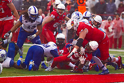 NORMAL, IL - October 26: James Robinson keeps the legs moving as he passes low through the middle to score the Redbirds 1st touchdown even going under his own lineman Adam Solomon during a college football game between the ISU (Illinois State University) Redbirds and the Indiana State Sycamores on October 26 2019 at Hancock Stadium in Normal, IL. (Photo by Alan Look)