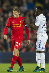 Halbfinale im Liga-Pokal Liverpool vs Leeds 1:0 in Liverpool / 291116<br /> <br /> ***LIVERPOOL, ENGLAND 29TH NOVEMBER 2016:<br /> Liverpool midfielder Lucas Leiva left makes his way past Leeds United midfielder Ronaldo Vieira during the English League Cup soccer match between Liverpool and Leeds at Anfield Stadium in Liverpool England November 29th 2016***
