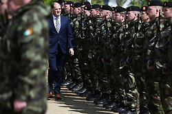 Minister with Responsibility for Defence Paul Kehoe inspects the troops during a review of the 110th Infantry Battalion at Memorial Park, Athlone, ahead of their six-month deployment to South Lebanon as part of United Nations Interim Force in Lebanon (Unifil).