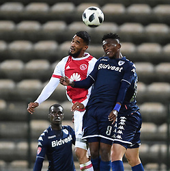 Cape Town-180411 Ajax Cape Town Striker Tashreeq Morris challenged by Wits midfielder Thabang Monare  in a PSL match played at Athlone stadium.photographer:Phando Jikelo/African News Agency/ANA