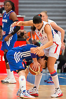 Celine Dumerc / Ana Dabovic - 28.06.2015 - France / Serbie - Finale Championnat d'Europe feminin de Basket ball -Budapest<br /> Photo : Attila Volgyi / Icon Sport