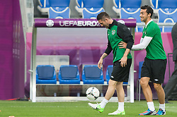 09.06.2012, Stadion Miejski, Poznan, POL, UEFA EURO 2012, Tschechische Republik, Training, im Bild ROBBIE KEANE, STEPHEN KELLY during the during EURO 2012 Trainingssession of Ireland Nationalteam, at the stadium Miejski, Poznan, Poland on 2012/06/09