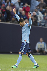 April 29, 2018 - Bronx, New York, United States - New York City forward DAVID VILLA (7) celebrates his first goal of the game and career 400th goal during a regular season match at Yankee Stadium in Bronx, NY.  NYCFC defeats FC Dallas 3 to 1. (Credit Image: © Mark Smith via ZUMA Wire)