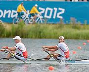 Eton Dorney, Windsor, Great Britain,..2012 London Olympic Regatta, Dorney Lake. Eton Rowing Centre, Berkshire[ Rowing]...Description;  Men's B Final Double Sculls.  NOR M2X, Nils Jakob HOFF (b) , Kjetil BORCH (s)   AUS.M2X. David CRAWSHAY (b) , Scott BRENNAN (s).. Dorney Lake. 09:56:18  Thursday  02/08/2012.  [Mandatory Credit: Peter Spurrier/Intersport Images].Dorney Lake, Eton, Great Britain...Venue, Rowing, 2012 London Olympic Regatta...