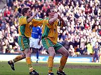 PICTURE BY DANIEL HAMBURY/SPORTSBEAT IMAGES<br />Nationwide Football League Division One    6/3/04<br /><br />NORWICH V IPSWICH<br /><br />Norwich City's Malky Mackay celebrates his first goal<br />with Paul McVeigh