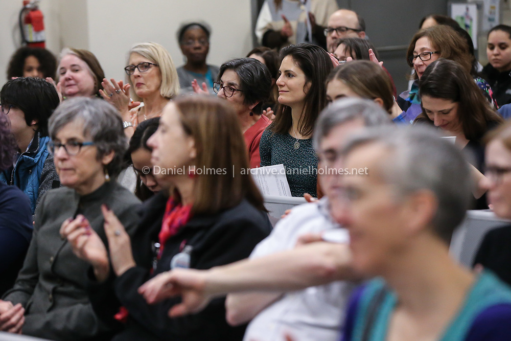 (2/25/20, FRAMINGHAM, MA) Attendees applaud during introductions at the MetroWest Commission on the Status of Women forum on reproductive rights at the Framingham Public Library on Tuesday. [Daily News and Wicked Local Photo/Dan Holmes]