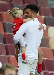 England's Kyle Walker in the stands after the FIFA World Cup, Semi Final match at the Luzhniki Stadium, Moscow. PRESS ASSOCIATION Photo. Picture date: Wednesday July 11, 2018. See PA story WORLDCUP Croatia. Photo credit should read: Owen Humphreys/PA Wire. RESTRICTIONS: Editorial use only. No commercial use. No use with any unofficial 3rd party logos. No manipulation of images. No video emulation.