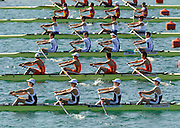 Munich, GERMANY, GBR LW4-, Bow Richard CHAMBERS, James LINDSAY FYNN, Paul MATTICK and James CLARKE, move of the start, at the FISA world Cup Munich, held on the Olympic Rowing Course, 10/05/2008  [Mandatory Credit Peter Spurrier/ Intersport Images] Rowing Course, Olympic Regatta Rowing Course, Munich, GERMANY