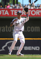June 13, 2018 - Milwaukee, WI, U.S. - MILWAUKEE, WI - JUNE 13: Milwaukee Brewers Shortstop Orlando Arcia (3) catches the ball during a MLB game between the Milwaukee Brewers and Chicago Cubs on June 13, 2018 at Miller Park in Milwaukee, WI. The Brewers defeated the Cubs 1-0.(Photo by Nick Wosika/Icon Sportswire) (Credit Image: © Nick Wosika/Icon SMI via ZUMA Press)