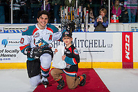 KELOWNA, CANADA - FEBRUARY 13: Nick Merkley #10 of the Kelowna Rockets accepts the second star of the game against the Seattle Thunderbirds on February 13, 2017 at Prospera Place in Kelowna, British Columbia, Canada.  (Photo by Marissa Baecker/Shoot the Breeze)  *** Local Caption ***