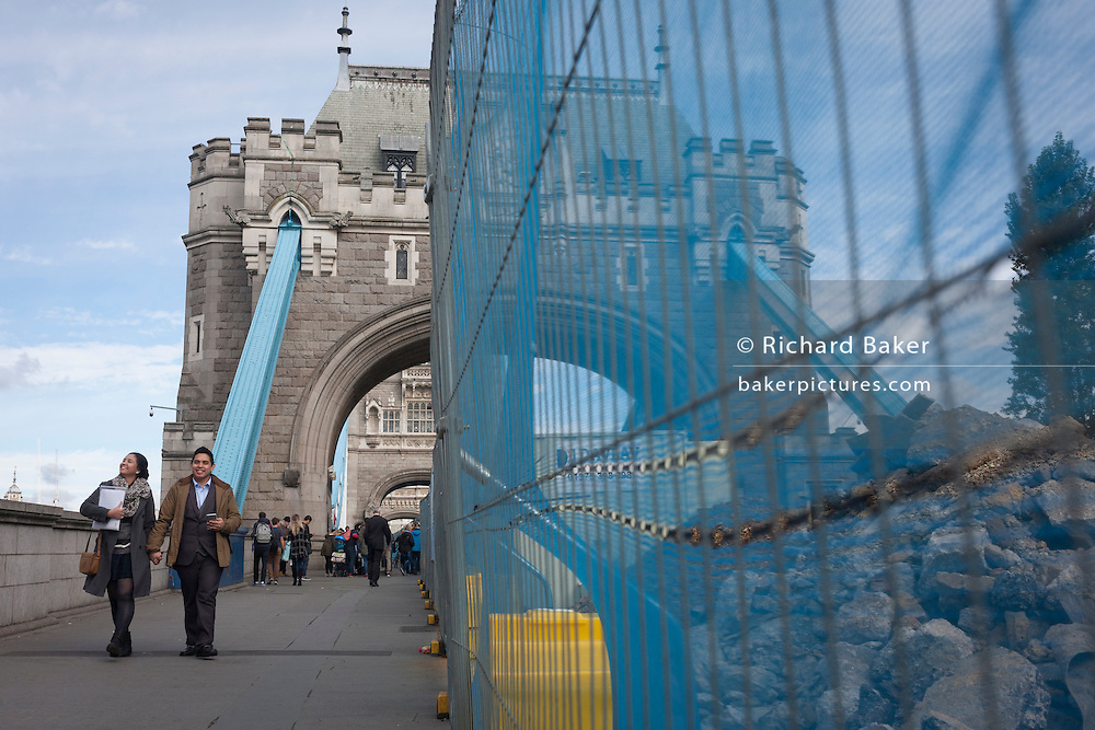 The start of repairs to London's Tower Bridge, closed to traffic and disrupting this major Thames crossing and surrounding roads for the next three months.