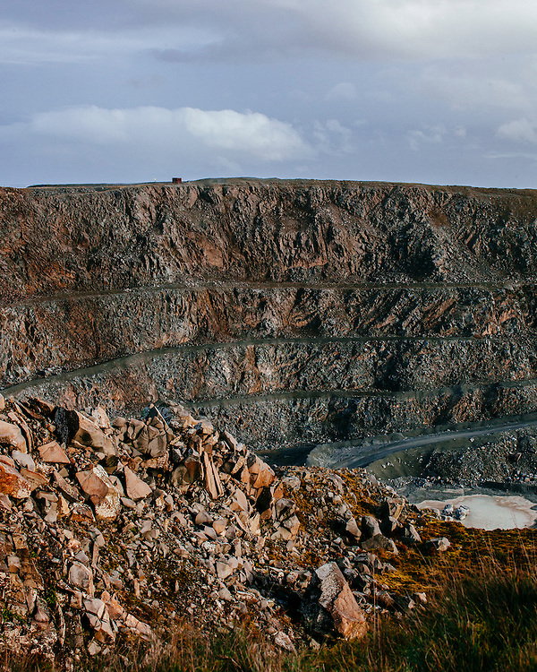 View of Penmaenmawr Quarry steps from above the Quarry in Wales