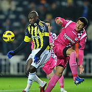 Fenerbahce's Mamadou NIANG (L) during their Turkish superleague soccer match Fenerbahce between Kasimpasaspor at the Sukru Saracaoglu stadium in Istanbul Turkey on Saturday 26 February 2011. Photo by TURKPIX