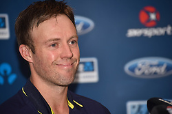 February 18, 2017 - Auckland, Auckland, New Zealand - AB de Villiers of South Africa speaks to the media after his team winning the international Twenty20 cricket match against  New Zealand in Auckland, New Zealand on Feb 18. (Credit Image: © Shirley Kwok/Pacific Press via ZUMA Wire)