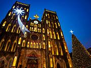 25 DECEMBER 2017 - HANOI, VIETNAM: St Joseph's Cathedral lit up for the Christmas holidays in Hanoi.     PHOTO BY JACK KURTZ