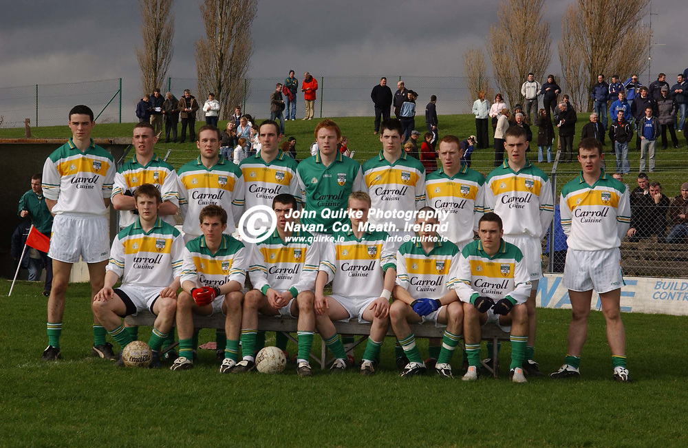 17-03-05. Meath v Offaly U-21 FC Quarter Final at Tullamore.<br /> The Offaly team which lost to Meath L to R.<br /> <br /> Back: James Rafferty, Shane Dooley, Shane Sullivan, Joe Quinn (Capt), David Lowry, Padraig Bracken, Thomas Coughlan, Niall McNamee, David Egan.<br /> Front: Thomas Fitzpatrick, Ciaran Kiely, Sean Casey, James Coughlan, Nigel Grennan and James Keane.<br /> Photo: John Quirke.<br /> (C) John Quirke Photography, Unit 4, Blackcastle Shopping Centre, Navan. Co. Meath. Ireland.  046-9079044/087-2579454 / E-Mail: info@quirke.ie