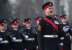 A sergeant major shouts instructions on the parade ground as the Duke of Cambridge represents the Queen as the Reviewing Officer at The Sovereign's Parade at Royal Military Academy Sandhurst in Camberley.