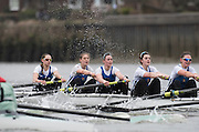 Putney, Great Britain.  CUBC, left during the 2015 Pre Boat Race Fixture, Cambridge University Women's Boat Club vs Imperial College Women's Boat Club, Championship Course, River Thames.  England. <br /> {DOW{  {DATE}<br /> <br /> [Mandatory Credit; Peter Spurrier/Intersport-images]<br /> Crews:  ICBC:<br /> left to right: Bow Sara PARFETT, 2. Jo THOM, 3. Victoria WATTS, 4, Georgina FRANCIS, 5. Michelle VELIE,