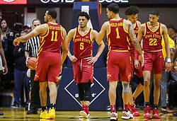 Mar 6, 2019; Morgantown, WV, USA; Iowa State Cyclones players walk after a dead ball during the second half against the West Virginia Mountaineers at WVU Coliseum. Mandatory Credit: Ben Queen-USA TODAY Sports