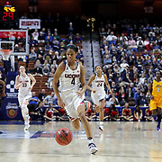 Moriah Jefferson, UConn, in action during the UConn Huskies Vs East Carolina Pirates Quarter Final match at the  2016 American Athletic Conference Championships. Mohegan Sun Arena, Uncasville, Connecticut, USA. 5th March 2016. Photo Tim Clayton
