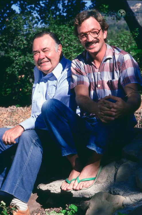 Jonathan Winters and his son Jay photographed at their home in LA in 1987