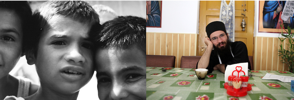 "Dragos at the orphanage in 1993 when he was 8 and in 2011 at the Sihla Monastery in Bucovina. Dragos has always been very religious and chose to become an Orthodox monk when he was 19. He has been living in Sihla since 2005. He works in the kitchen and looks after the dining room. ""I am happy here. I found my place"", he comments."
