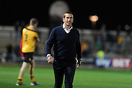 Newport county manager Justin Edinburgh is happy as he walks off after his team end match with 1-1 draw.  Skybet football league two match, Newport County v Cambridge Utd at Rodney Parade ,Newport , South Wales on Monday 8th  Sept 2014<br /> pic by Andrew Orchard, Andrew Orchard sports photography.