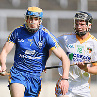 25 August 2012; Seadna Morey, Clare, in action against Kevin McKiernan, Antrim. Bord G·is Energy GAA Hurling Under-21 All-Ireland Championship Semi-Final, Clare v Antrim, Semple Stadium, Thurles, Co. Tipperary. Picture credit: Diarmuid Greene / SPORTSFILE *** NO REPRODUCTION FEE ***