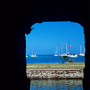 View through the wall of Ft. Jefferson in Dry Tortugas National Park, FL.