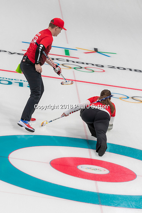 Matt and Rebecca Hamilton (USA) competing in the Mixed Doubles Curling round robin at the Olympic Winter Games PyeongChang 2018