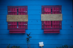 October 7, 2016 - Lake Worth, Florida, U.S. - A house is boarded up for Hurricane protection in Lake Worth Friday. (Credit Image: © Bruce R. Bennett/The Palm Beach Post via ZUMA Wire)