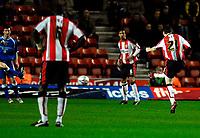 Photo: Alan Crowhurst.<br />Southampton v Cardiff City. Coca Cola Championship. 13/03/2007. Saints' Chris Baird (R) opens the scoring 1-0.