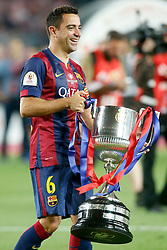 30.05.2015, Camp Nou, Barcelona, ESP, Copa del Rey, Athletic Club Bilbao vs FC Barcelona, Finale, im Bild FC Barcelona's Xavi Hernandez celebrates the victory // during the final match of spanish king's cup between Athletic Club Bilbao and Barcelona FC at Camp Nou in Barcelona, Spain on 2015/05/30. EXPA Pictures © 2015, PhotoCredit: EXPA/ Alterphotos/ Acero<br /> <br /> *****ATTENTION - OUT of ESP, SUI*****