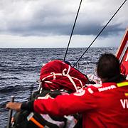 Leg 02, Lisbon to Cape Town, day 07, on board MAPFRE, Joan Vila observando las nubes. Photo by Ugo Fonolla/Volvo Ocean Race. 11 November, 2017