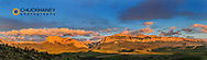 Panoramic of the Rocky Mountin Front Range at sunrise near Dupuyer, Montana, USA