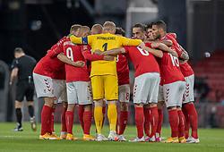 Det danske landshold gør klar til kamp før UEFA Nations League kampen mellem Danmark og England den 8. september 2020 i Parken, København (Foto: Claus Birch).