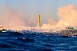 wave crashing on lighthouse, Kona, Big Island, Hawaii, Pacific Ocean