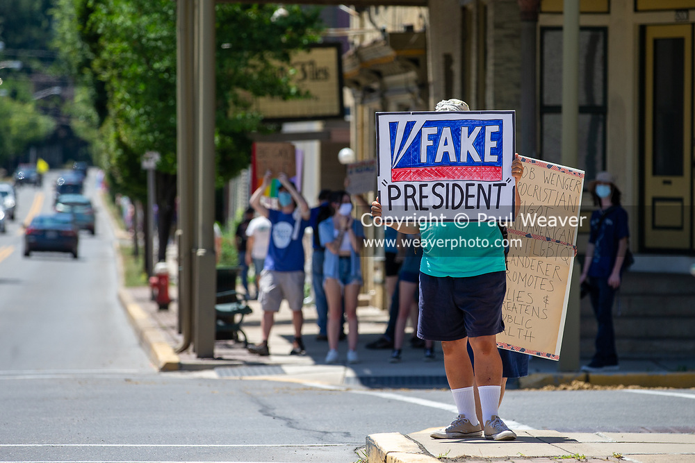 """A demonstrator at the Mifflinburg Pride Event holds a sign reading """"fake president."""""""