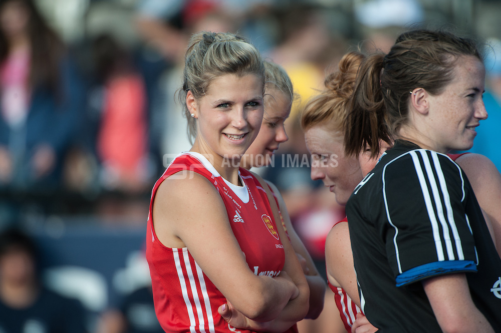 England's Georgie Twigg waits for the presentation ceremony after the Final of the Investec London Cup. Lee Valley Hockey & Tennis Centre, London, UK on 13 July 2014. Photo: Simon Parker