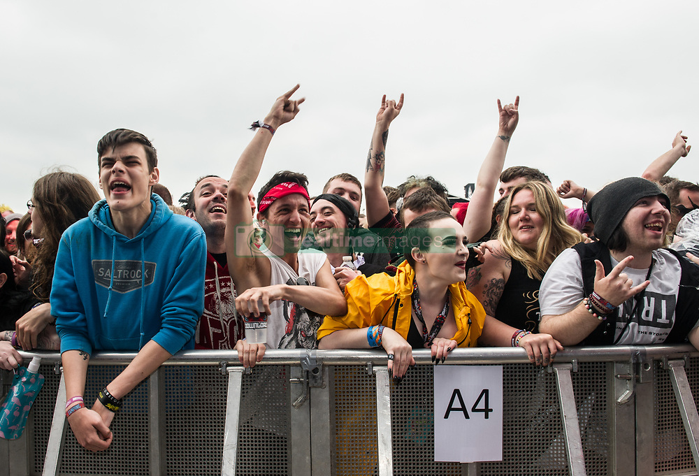 Festival goers enjoying the music on day 1 of Download Festival at Donington Park on June 08, 2018 in Castle Donington, England. Picture date: Friday 08 June, 2018. Photo credit: Katja Ogrin/ EMPICS Entertainment.