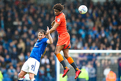 Sido Jombati of Wycombe Wanderers beats Kristian Dennis of Chesterfield to the ball - Mandatory by-line: Robbie Stephenson/JMP - 28/04/2018 - FOOTBALL - Proact Stadium - Chesterfield, England - Chesterfield v Wycombe Wanderers - Sky Bet League Two