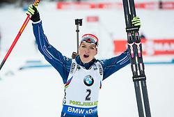 Gabriela Soukalova (CZE) celebrates at medal ceremony after placed second  during Women 12.5 km Mass Start at day 4 of IBU Biathlon World Cup 2015/16 Pokljuka, on December 20, 2015 in Rudno polje, Pokljuka, Slovenia. Photo by Vid Ponikvar / Sportida