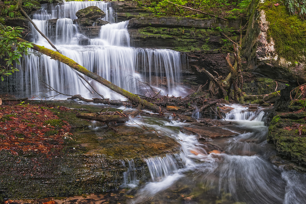 Just off the established Kaymoor Trail in the New River Gorge lies an overlooked gem of a waterfall carpeted in moss and nestled in rhododendron running off Craig's Branch.