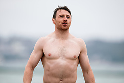 Rory Murray looks on as Bristol Rugby take part in a morning after game recovery session in the sea - Rogan/JMP - 29/10/2017 - RUGBY UNION - Jersey Marine Lake - St Helier, Jersey - Jersey Reds v Bristol Rugby - Greene King IPA Championship.