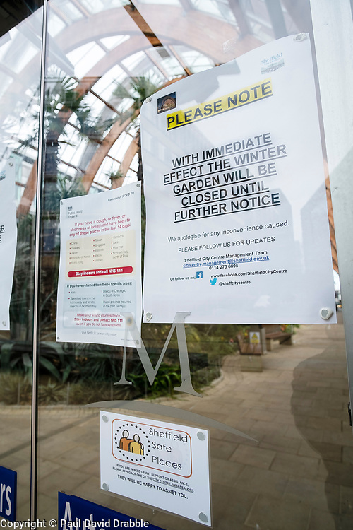 Signs of the Corona Virus. Sheffield Winter Gardens<br /> 21 March 2020<br /> <br /> www.pauldaviddrabble.co.uk<br /> All Images Copyright Paul David Drabble - <br /> All rights Reserved - <br /> Moral Rights Asserted -