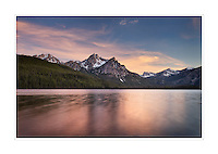 Sunset over McGown Peak and Stanley Lake, Sawtooth Mountains, Idaho