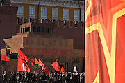 Moscow, Russia, 06/11/2005..Communists demonstrate in and around Red Square as they mark the 88th anniversary of the Bolshevik Revolution in 1917.